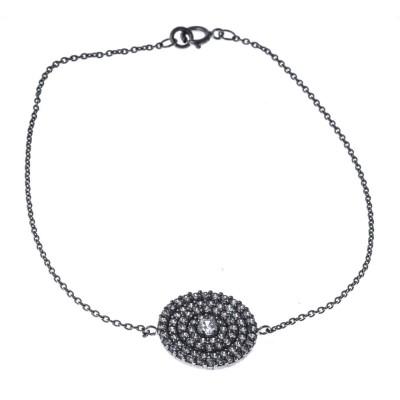 Bracelet en argent rhodié et oxyde de zirconium pour femme, Piana