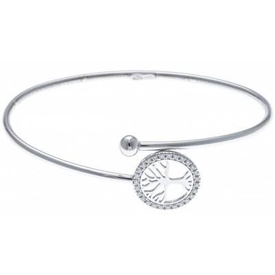 bijoux arbre de vie, bracelet jonc ouvert en argent et zircon pour femme