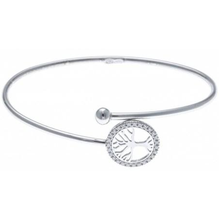 Bracelet jonc Arbre de Vie en argent rhodié et zircon, Vitalia