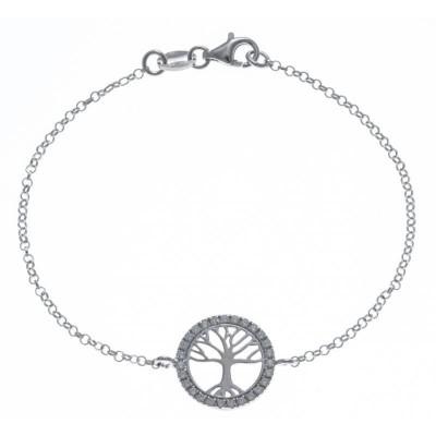 Bracelet Arbre de Vie en argent rhodié et zircon, Vitalia
