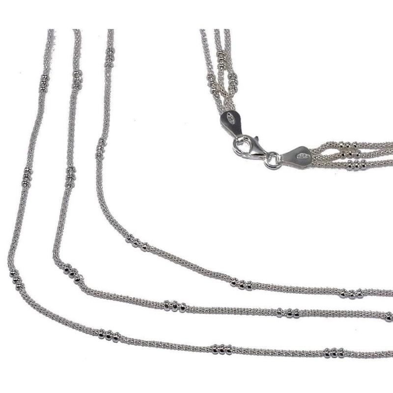 Collier 3 rangs en argent & perles argentées pour femme - Salsa - Lyn&Or Bijoux