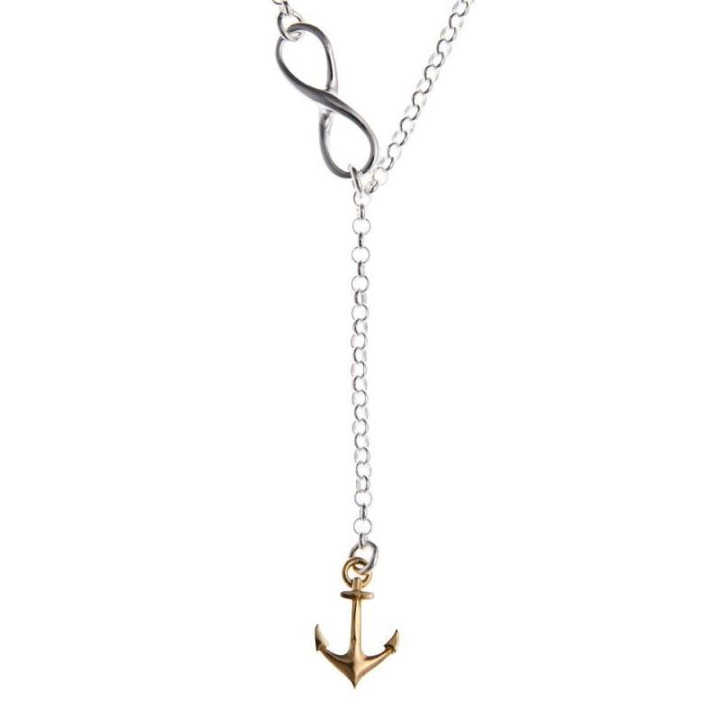 Collier & pendentif en argent 2 tons pour femme - Ancre marine - Lyn&Or Bijoux