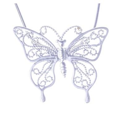 Collier & pendentif en argent 925 pour femme - Papillon - Lyn&Or Bijoux