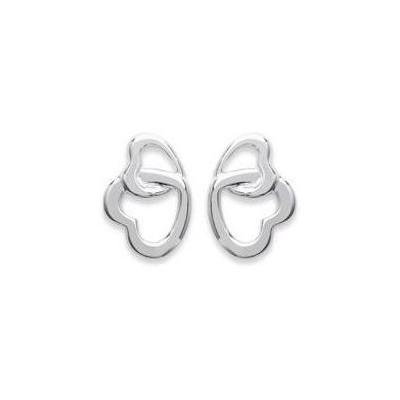 Boucles d'oreilles, deux coeurs en argent 925 pour femme, Kaya