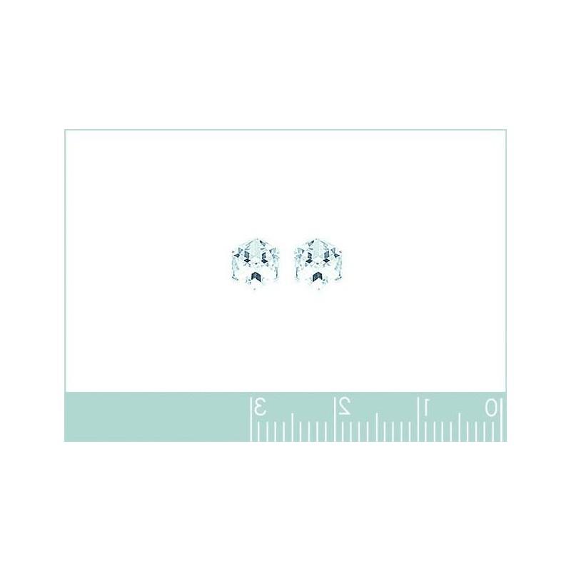 Boucles d'oreilles puce pour femme Cubes en cristal blanc