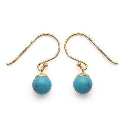 Boucles d'oreilles pendantes en plaqué or et perle turquoise