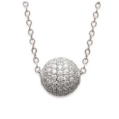 Collier pour femme et pendentif perle brillante en argent 925/1000