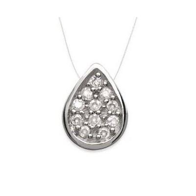 Collier femme en argent, pendentif zircon goutte + fil transparent - Lyn&Or Bijoux