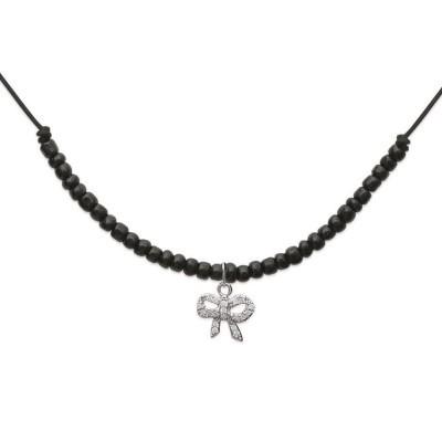 Collier avec cordon noir et noeud strass en argent 925