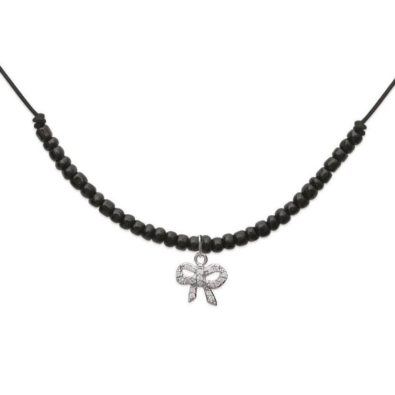 Collier avec cordon noir et noeud strass en argent 925 millièmes
