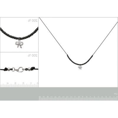 Collier Noeud brillant en argent 925 et cordon noir pour femme
