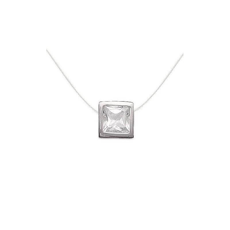 Collier fil transparent et pendentif carré brillant