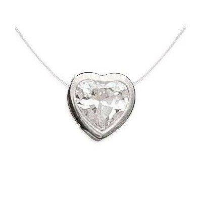 Collier femme en argent, pendentif zircon coeur + fil transparent - Lyn&Or Bijoux