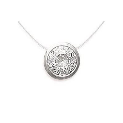 Collier femme en argent, pendentif zircon rond + fil transparent - Lyn&Or Bijoux
