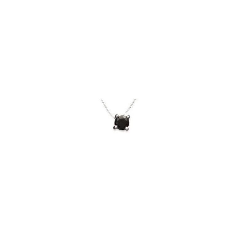 Collier ras-de-cou, fil invisible et zircon noir pour femme - Solitaire - Lyn&Or Bijoux
