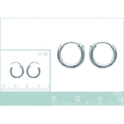 Boucles créoles 12 mm en argent massif, fil 2 mm, femme, Mambo