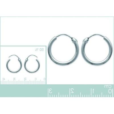 Anneaux créoles pour femme 14 mm en argent 925, fil 1,5 mm, Twist