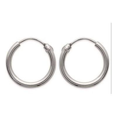 Boucles d'oreilles créoles 14 mm en argent 925, fil 2 mm, Mambo
