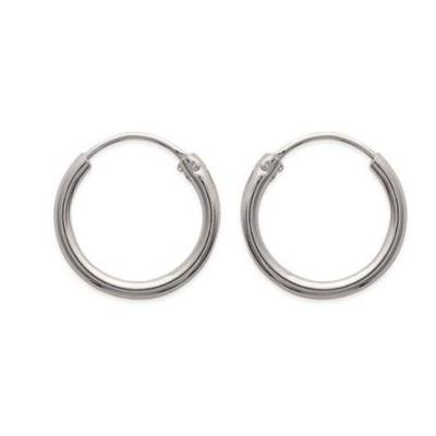Boucles d'oreilles créoles 16 mm en argent 925, fil 2 mm, Mambo