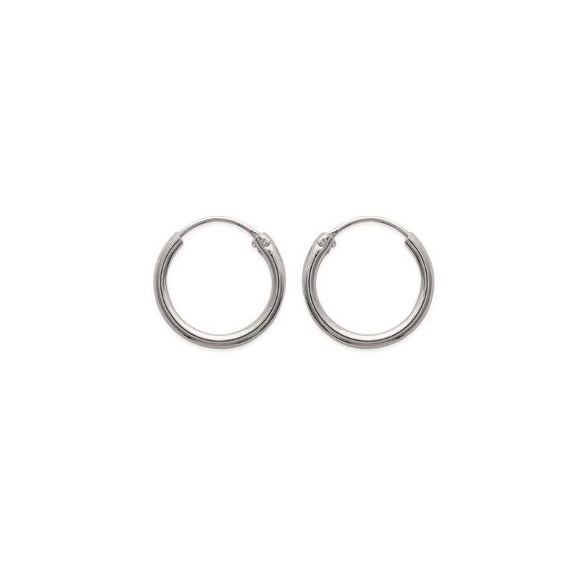Boucles Créoles femme en argent, diamètre 16 mm, fil 2 mm - Mambo - Lyn&Or Bijoux