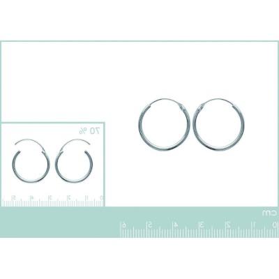Boucles d'oreilles créoles 25 mm en argent 925, fil 1,5 mm, Twist
