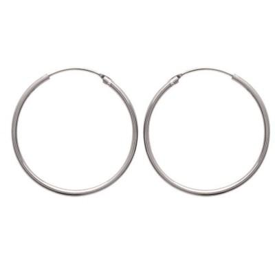 Créoles 35 mm en argent, fil 1,5 mm pour femme - Twist - Lyn&Or Bijoux