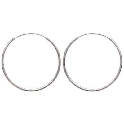 Créoles 40 mm en argent, fil 1,5 mm pour femme - Twist - Lyn&Or Bijoux