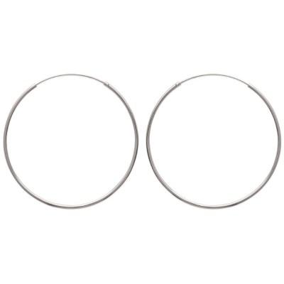 Anneau créoles 50 mm en argent 925, fil 1,5 mm pour femme, Twist