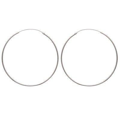 Créoles 60 mm en argent, fil 1,5 mm pour femme - Twist - Lyn&Or Bijoux
