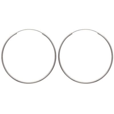 Anneaux créoles pour femme 60 mm en argent 925, fil 2 mm, Mambo
