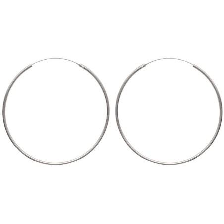 Anneaux créoles pour femme 70 mm en argent 925, fil 2 mm, Mambo