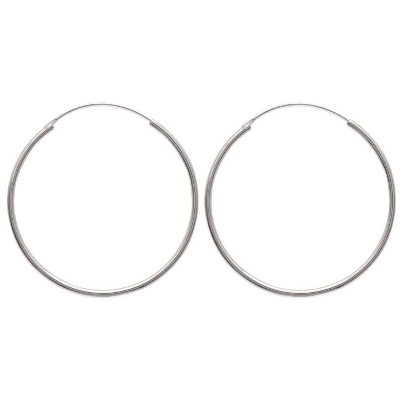 Créoles 50 mm en argent, fil 2 mm pour femme - Mambo - Lyn&Or Bijoux