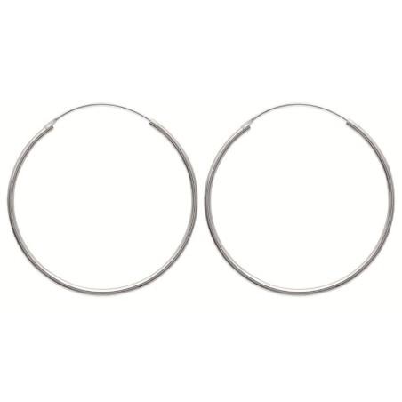 Créoles pour femme 50 mm en argent 925, fil 2 mm, Mambo