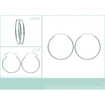 Anneaux créoles pour femme 50 mm en argent 925, fil 2 mm, Mambo