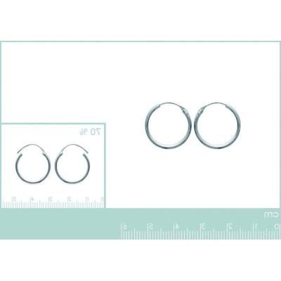Boucles d'oreille créoles 18 mm en argent 925, fil 1,5 mm, Twist