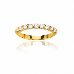 Alliance femme, or 18 carats et diamants solitaires, Louisianne