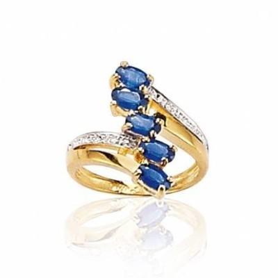 Bague pour femme, Saphir, Diamant & Or Jaune - Beauté - Lyn&Or Bijoux