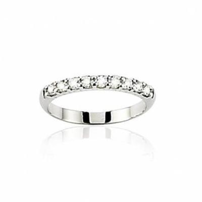 Alliance en or blanc 18 carats et diamant pour femme - Lumière