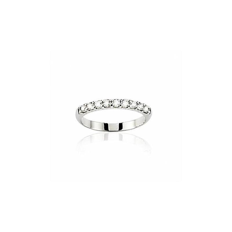 Alliance pour femme or blanc 18 carats et diamant -Lumière