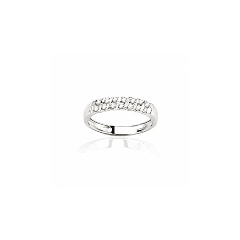 Alliance pour femme or blanc 18 carats et diamants-Diane