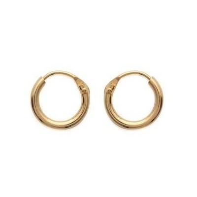 Boucles d'oreilles créoles 10 mm en plaqué or, fil 1,5 mm, Lido