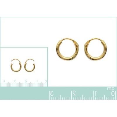 Anneau créoles 10 mm en plaqué or, fil 1,5 mm pour femme, Lido