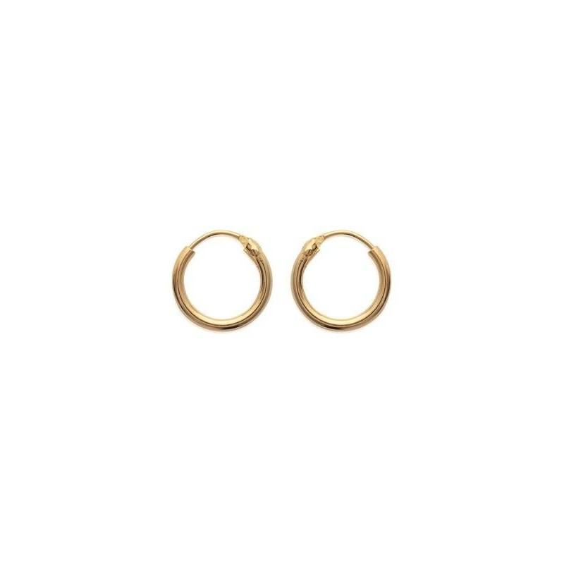 Créoles, femme & enfant, en plaqué or 12 mm, fil 1,5 mm - Lido - Lyn&Or Bijoux