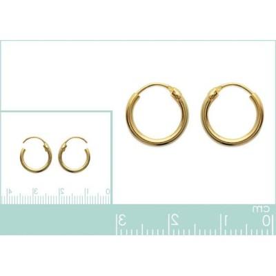 Anneau créoles 12 mm en plaqué or, fil 1,5 mm pour femme, Lido