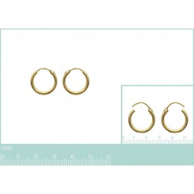 Anneau créoles 14 mm en plaqué or, fil 1,5 mm pour femme, Lido