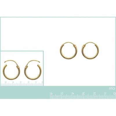Anneau créoles 16 mm en plaqué or, fil 1,5 mm pour femme, Lido