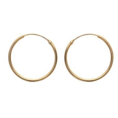 Anneau créoles 30 mm en plaqué or, fil 1,5 mm pour femme, Lido