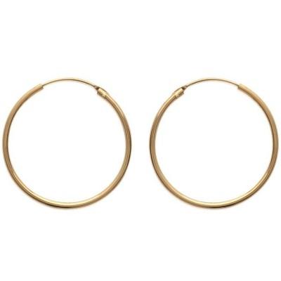 Anneau créoles 35 mm en plaqué or, fil 1,5 mm pour femme, Lido