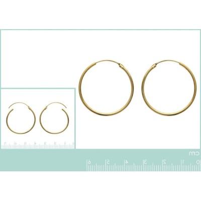 Boucles d'oreilles créoles 35 mm en plaqué or, fil 1,5 mm, Lido