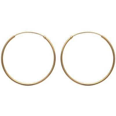 Anneau créoles diamètre 40 mm en plaqué or, fil 1,5 mm pour femme - Lido